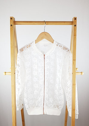 F&F white lace zipped cardigan 11-12 years