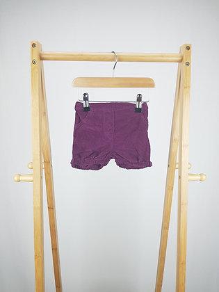George purple corduroy shorts 6-9 months