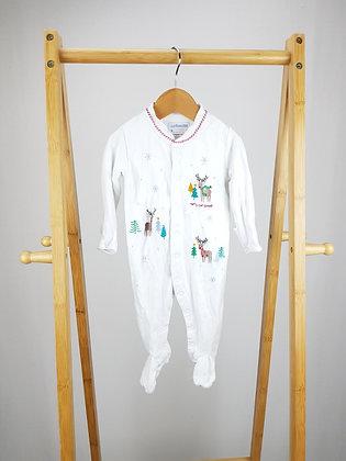 Jojo Maman Bebe embroidered Christmas sleepsuit 3-6 months