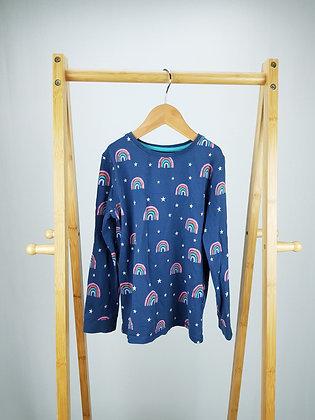 M&S rainbow long sleeve pyjama top 6-7 years