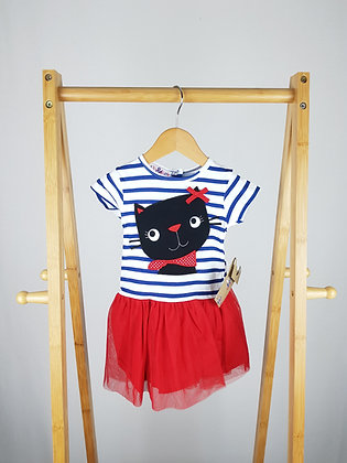 Lily & Jack striped cat tutu dress 0-3-6-12 months