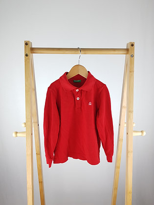 United colors of Benettonred long sleeve polo top 3-4 years