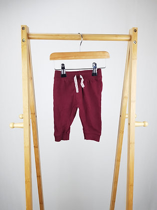 Baby burgundy joggers 0-3 months