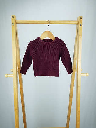 Mini Rebel burgundy knitted sweater 3-6 months