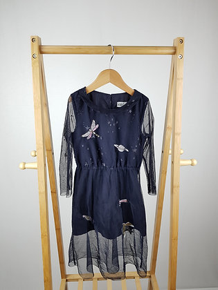 H&M navy embroidered occasion dress 4-6 years