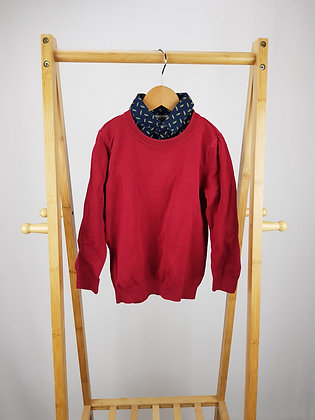 M&S red knitted mock sweater 5-6 years playwear
