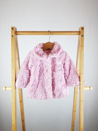 George pink faux fur coat 3-6 months