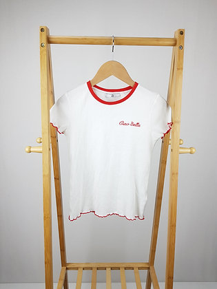 M&S Ciao Bella cream ribbed t-shirt 9-10 years