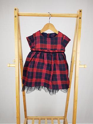F&F red/navy tartan dress 12-18 months
