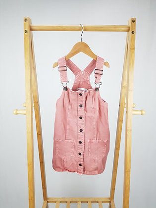 M&S pink buttoned denim pinafore dress 4-5 years