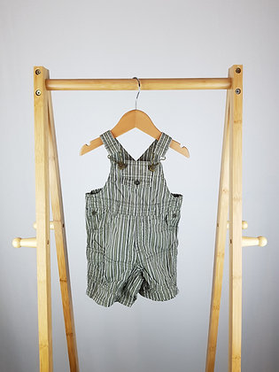George khaki striped short dungarees 0-3 months