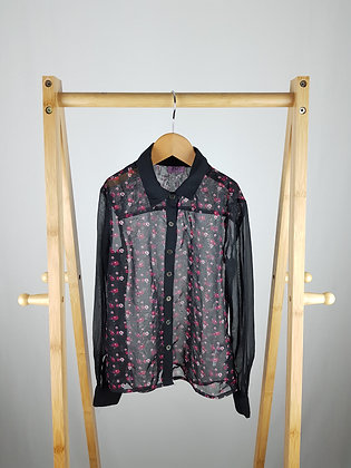 F&F black floral sheer blouse 5-6 years