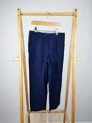 M&S navy linen mix trousers 7-8 years