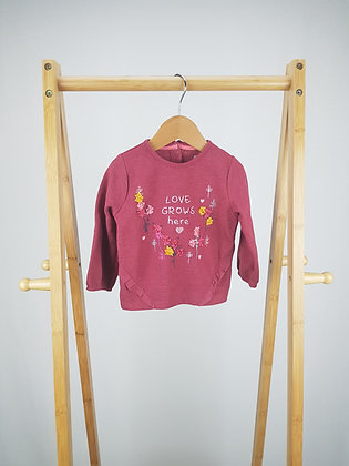F&F love grows here embroidered sweater 6-9 months