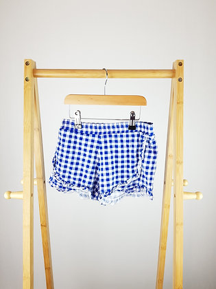 M&S blue checked shorts 7-8 years