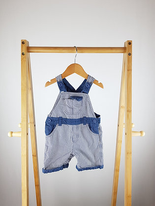 Matalan striped short dungarees 6-9 months