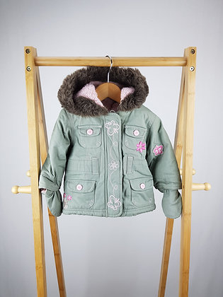 Ladybird embroidered fleece lined hooded coat with mittens 3-6 months