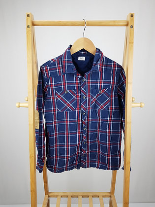 F&F navy checked long sleeve shirt 12-13 years