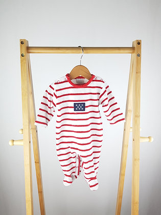Linea baby striped velour babygrow 0-3 months