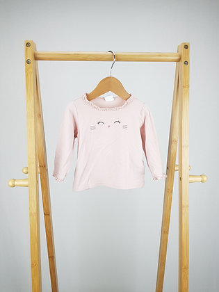H&M pink cat long sleeve top 6-9 months