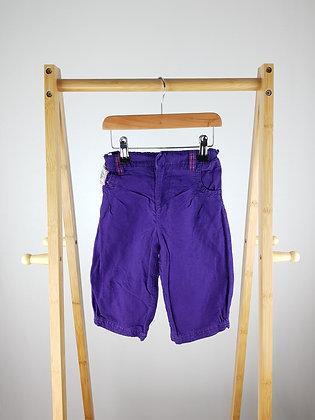 M&S purple 3/4 linen mix trousers 6-7 years