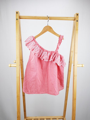 M&S pink embroidered top 8-9 years