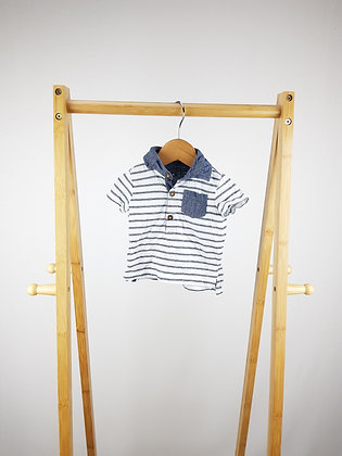 F&F striped polo shirt 0-3 months