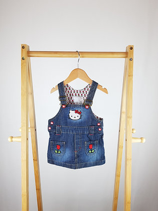 H&M Hello Kitty denim pinafore dress 2-4 months