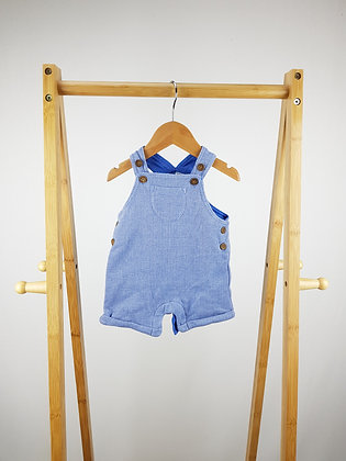 F&F blue lined dungarees 3-6 months
