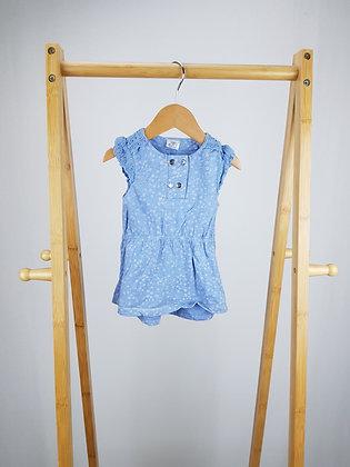 F&F blue floral dress 0-3 months
