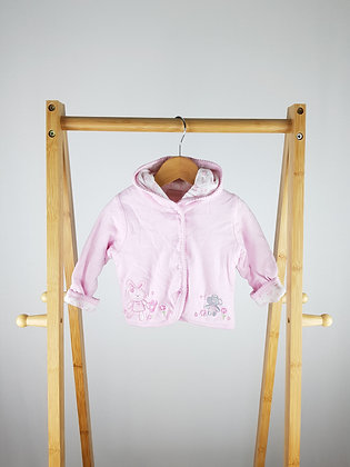 BHS pink embroidered jacket with hood 3-6 months