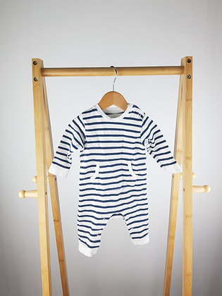 M&S striped long sleeve all-in-one 0-3 months