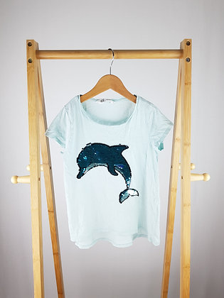 H&M flippy sequin dolphin t-shirt 6-8 years