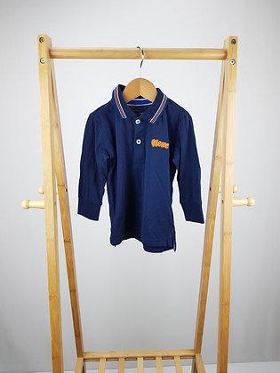 Next navy long sleeve polo shirt 12-18 months