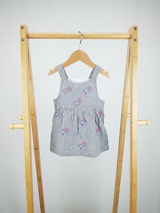 F&F rainbow pinafore dress 6-9 months