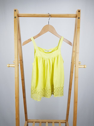 M&S yellow crocket lace trim top 8-9 years