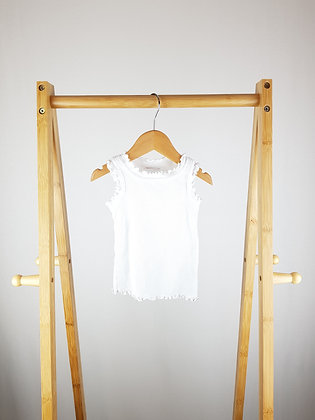 Next white ribbed vest top  6-9 months