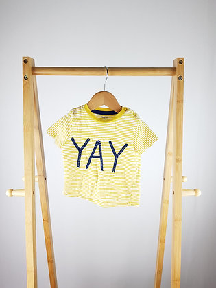 F&F yellow t-shirt 9-12 months