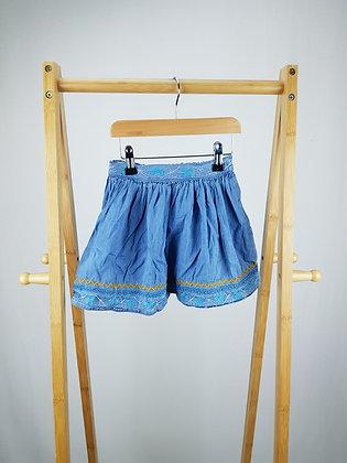 Minoti embroidered denim skirt 4-5 years