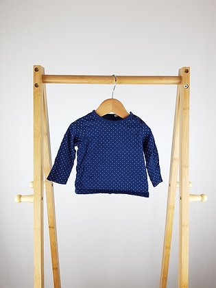 Bluezoo navy long sleeve top 3-6 months