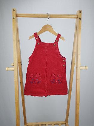 John Lewis red cord cat pinafore dress 18-24 months