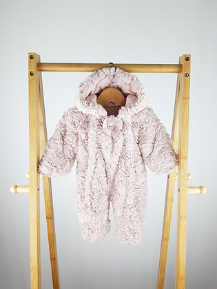 George dusky pink fluffy pramsuit tiny baby