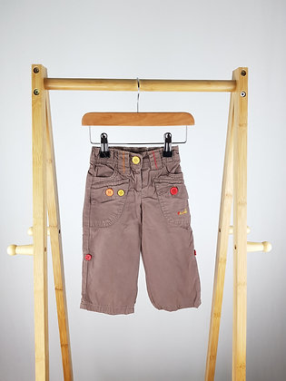 Next lined brown trousers 6-9 months