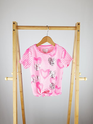 F&F pink sequin heart t-shirt 7-8 years