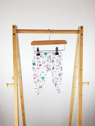 M&S patterned bottoms with closed feet 0-3 months