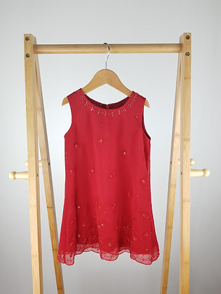 M&S red embroidered dress 4 years