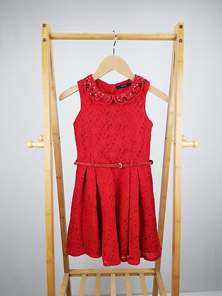 George red lace sequin collar dress with belt 7-8 years