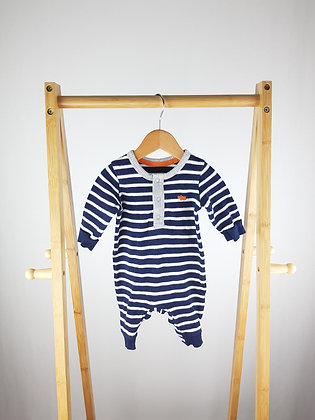 M&S striped knitted long sleeve all-in-one 0-3 months
