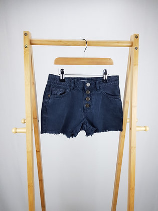 M&S buttoned black denim shorts 8-9 years