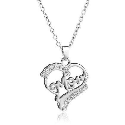 Mom silver crystal heart pendant necklace
